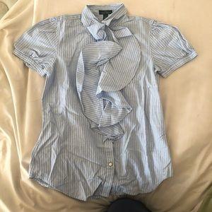 Ralph Lauren Striped Ruffle Blouse Size Xsmall